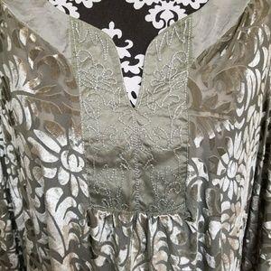 French Bazaar Velvet Embroidery Tunic, sz M